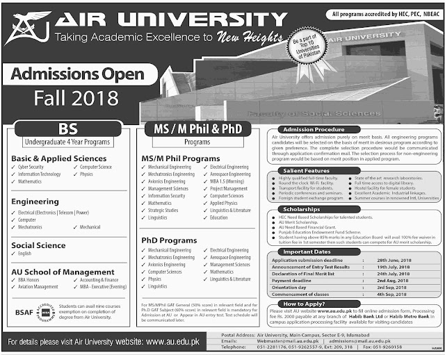 Latest Admissions in Air Univeristy Islamabad, Engineering Admissions 2018