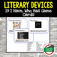 English Game Cards, Literary Devices Game Cards, Literary Devices Test Prep