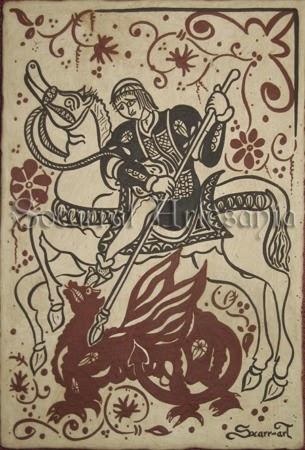 Socarrat que nos muestra a san Jorge lanceando al dragón. Soc-Art