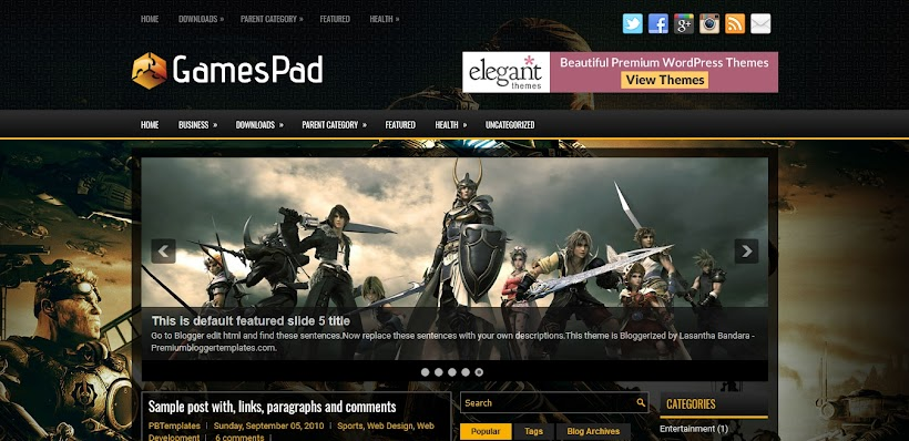 GamesPad Free Blogger Template