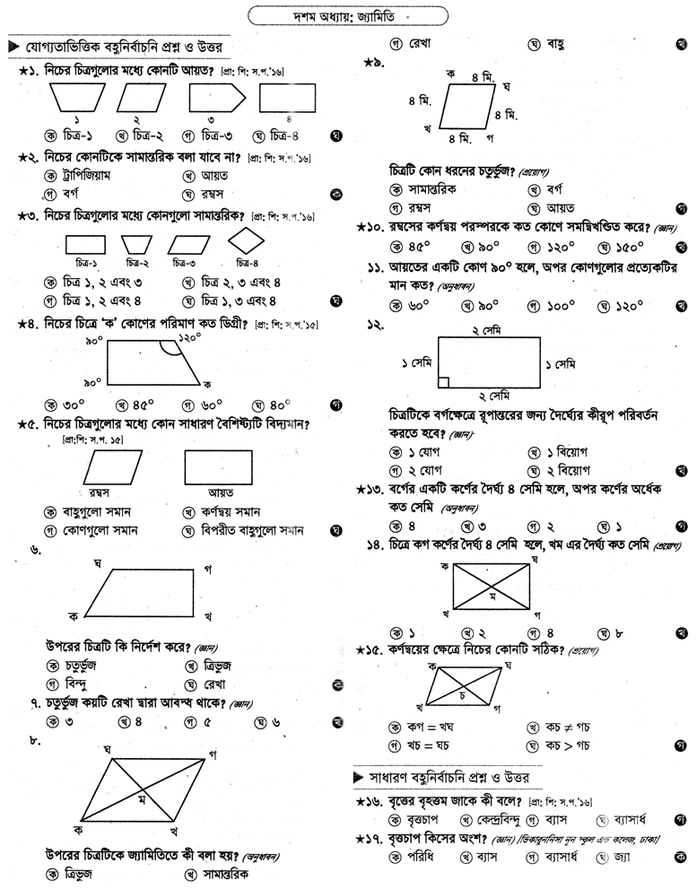 PECE Math Sort Question Suggestion 2018 Chapter - 10