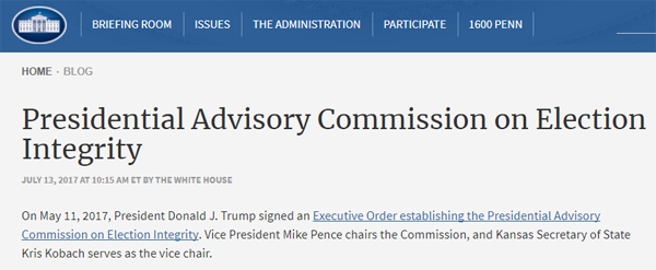 screen cap of White House page on the Presidential Advisory Commission on Election Integrity