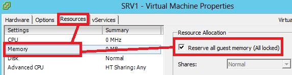 VSphere Client: Reserva RAM