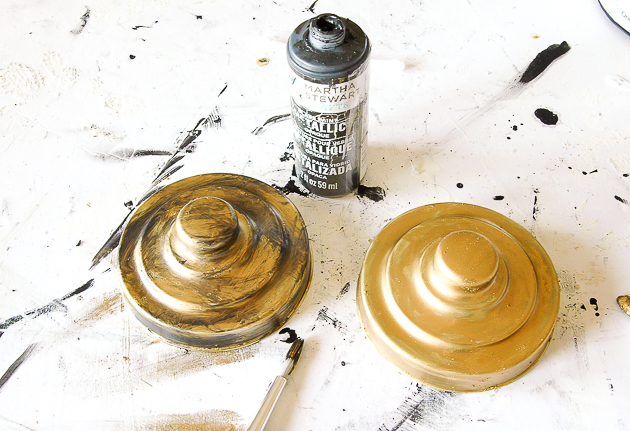 Adding metallic paint to age Dollar tree storage jars