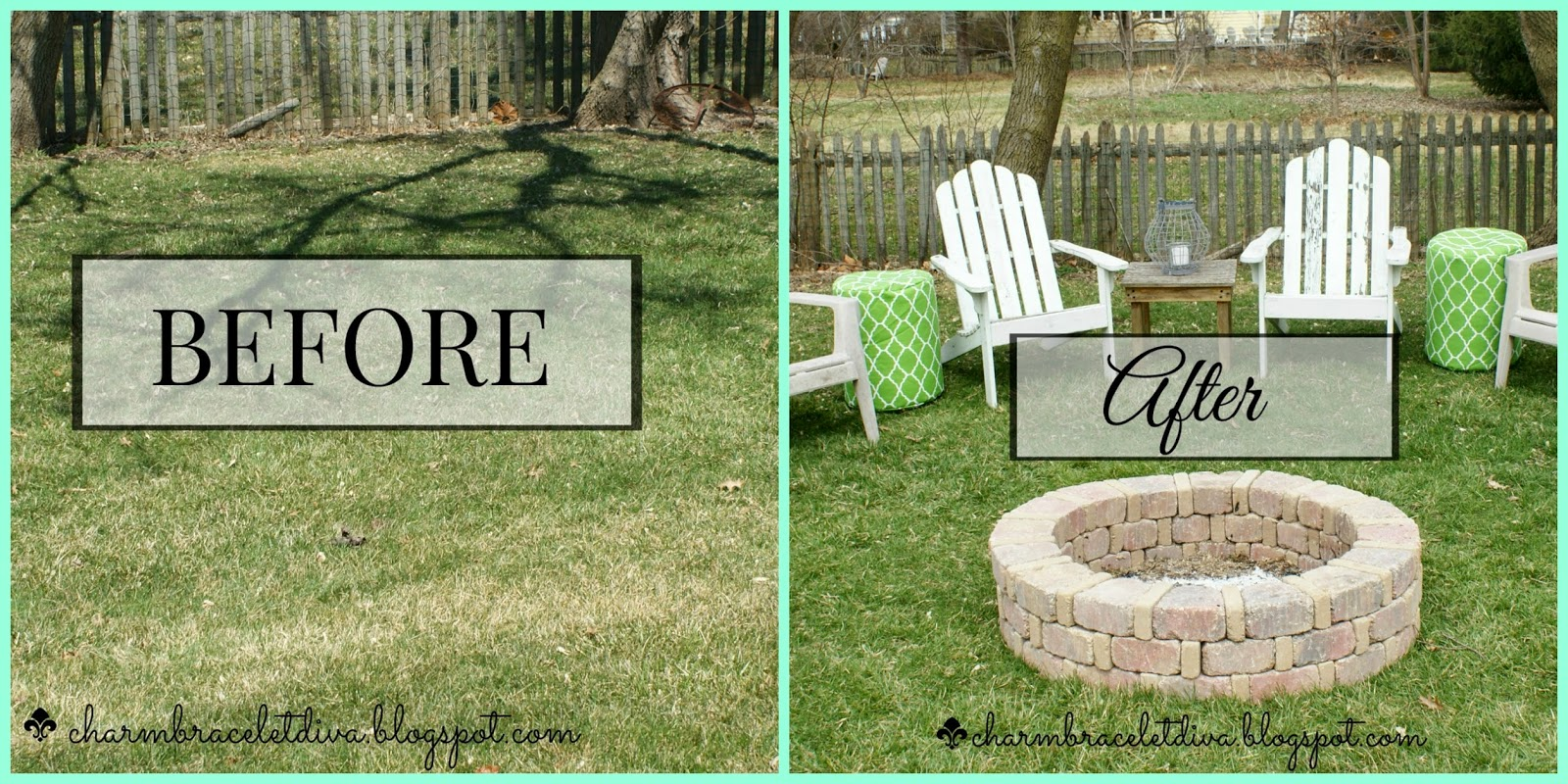 outdoor before and after fire pit entertaining