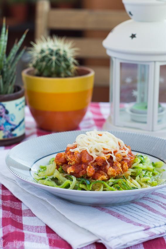 Espaguetis de calabacín con boloñesa de pollo #sinlactosa #singluten
