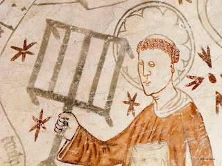 art, christian martyr, christianity, church, church history, deacon, editorial, fresco, gothic, gridiron, grill, grille, halo, lawrence, linderod, lorenzo, martyr, martyrdom, mural, saint, saint lawrence, san lorenzo, st lawrence, sweden, wall-painting, https://www.shutterstock.com/image-photo/deacon-st-lawrence-holding-gridiron-reminding-567676678