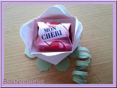 Papier-Blume, Stanzen, Falten, MonCheri, Teelicht