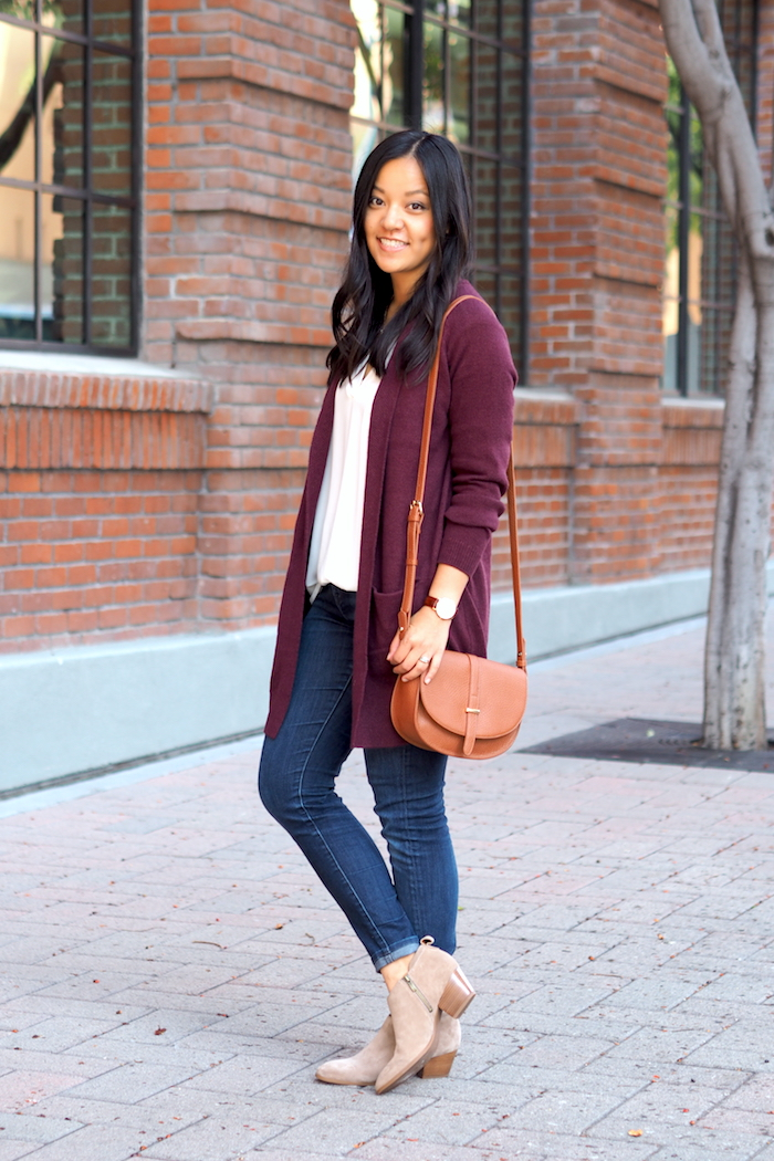 maroon cardigan + white top + jeans + booties