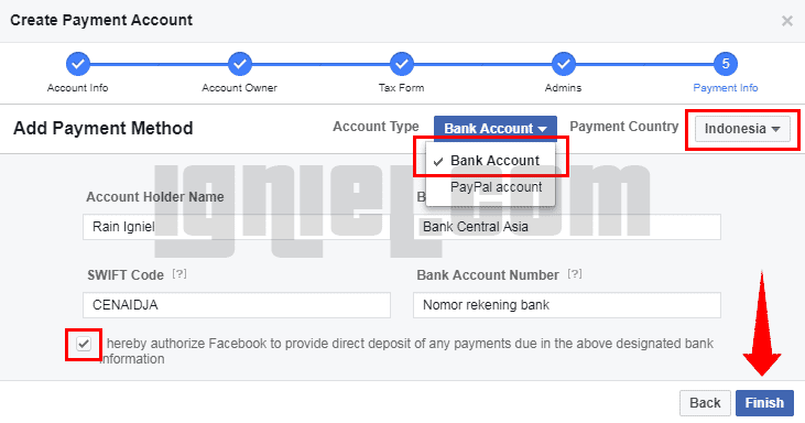Cara Setting Payment Bank Facebook Audience Network