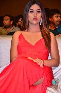 Anu Emmanuel Looks Stunning in Red Deep Neck Gown at Oxygen Audio Launch