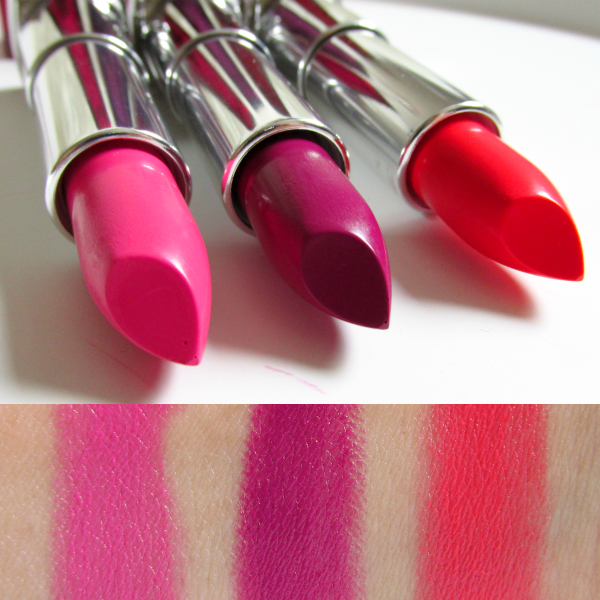 Swatches 185 Plushest Pink, 365 Plum Passion, 448 Coral Flourish Maybelline Rebel Bouquet