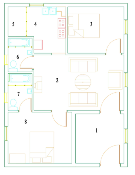 2BHK residential building Line PLan with Auto CAD original file