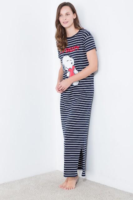 Camisón largo de algodón Snoopy