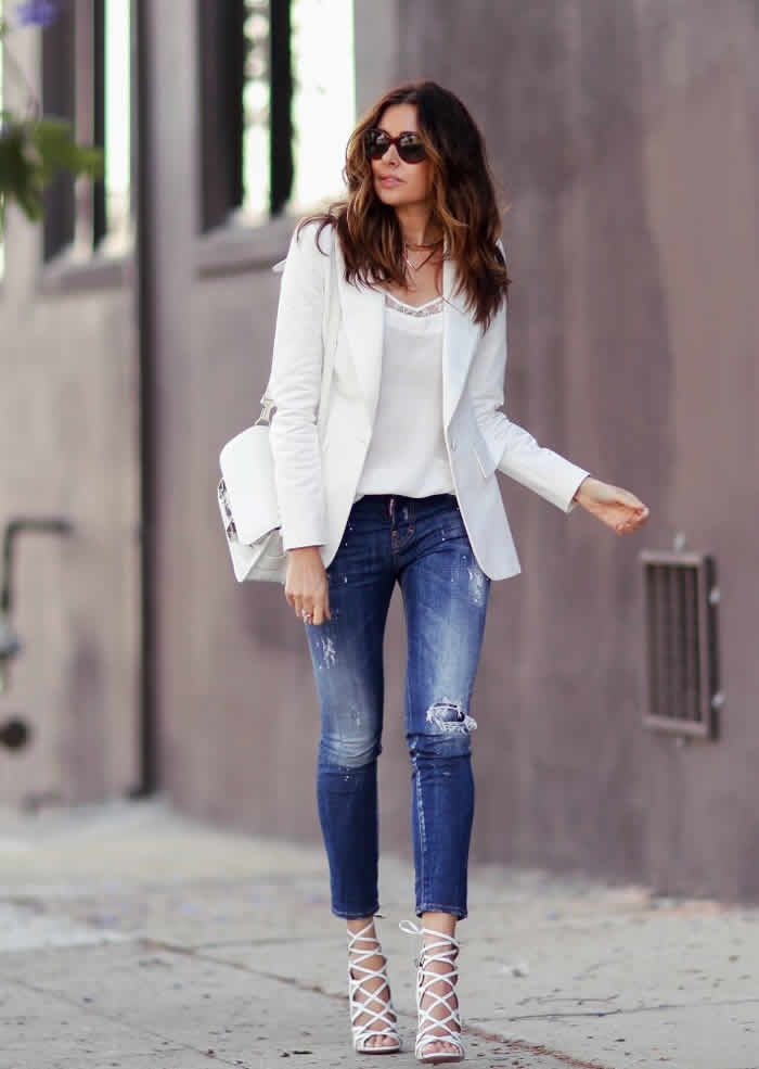 A pair of sneakers, especially a white canvas, will make your street style effortlessly chic whether you wear them with your favorite jeans, chic dress, or classic pants. Add some effortlessly cool vibe with your tuxedo blazer by teaming it with a plain tee, classic pants, and canvas sneakers that can take you from day to night.