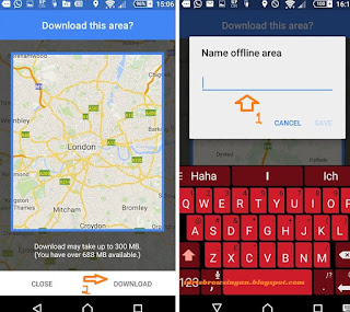 google maps offline area download