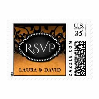 Orange & Black Elegant Halloween Wedding RSVP Postage with Names