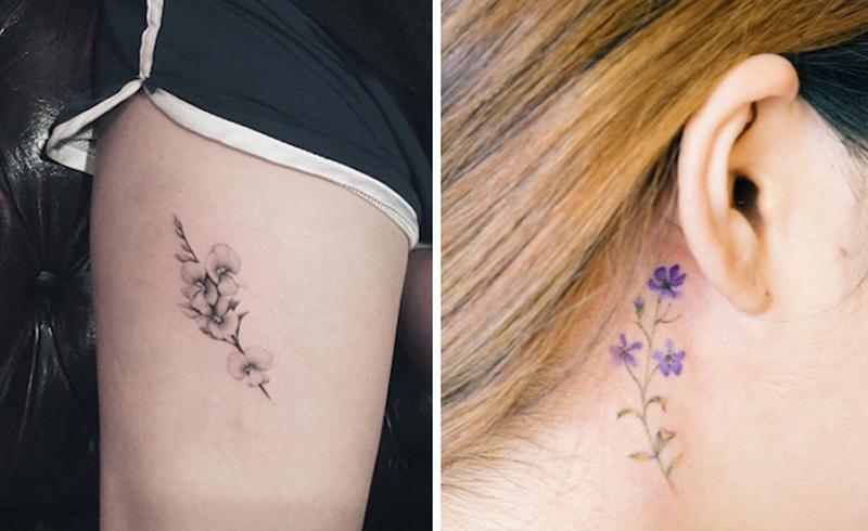 Tiny Flower Tattoos for Women