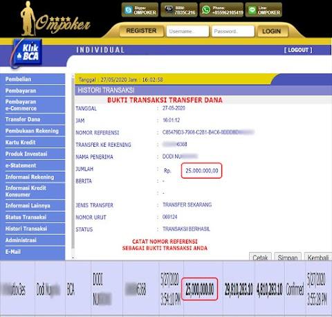 Selamat Kepada Member Setia Ompoker WD Rp 25.000.000,-