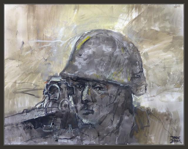 SOLDADO-ALEMAN-PINTURA-ARTE-SNIPER-FRANCOTIRADOR-CONCENTRACION-PINTURAS-SEGUNDA GUERRA MUNDIAL-GERMAN-SOLDIERS-WWII-ART-PINTOR-ERNEST DESCALS