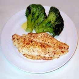 basa fish fillet with broccoli florets