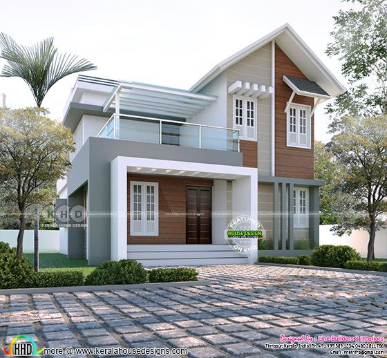 Mixed roof modern house rendering