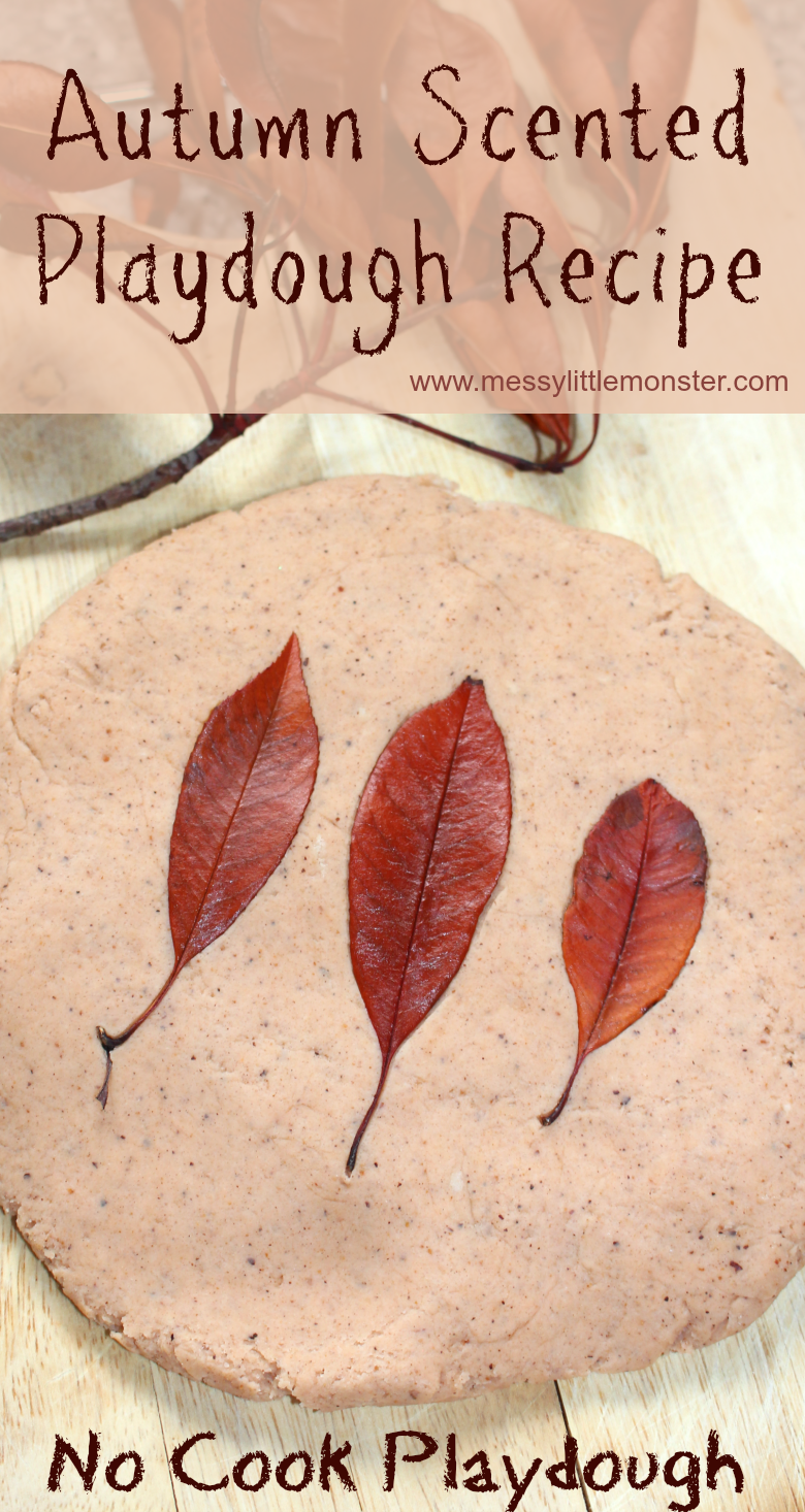 Easy no cook playdough recipe - Autumn scented playdough. If you are looking for autumn activities for preschoolers or toddlers mix up a batch of this scented playdough! It smells amazing!