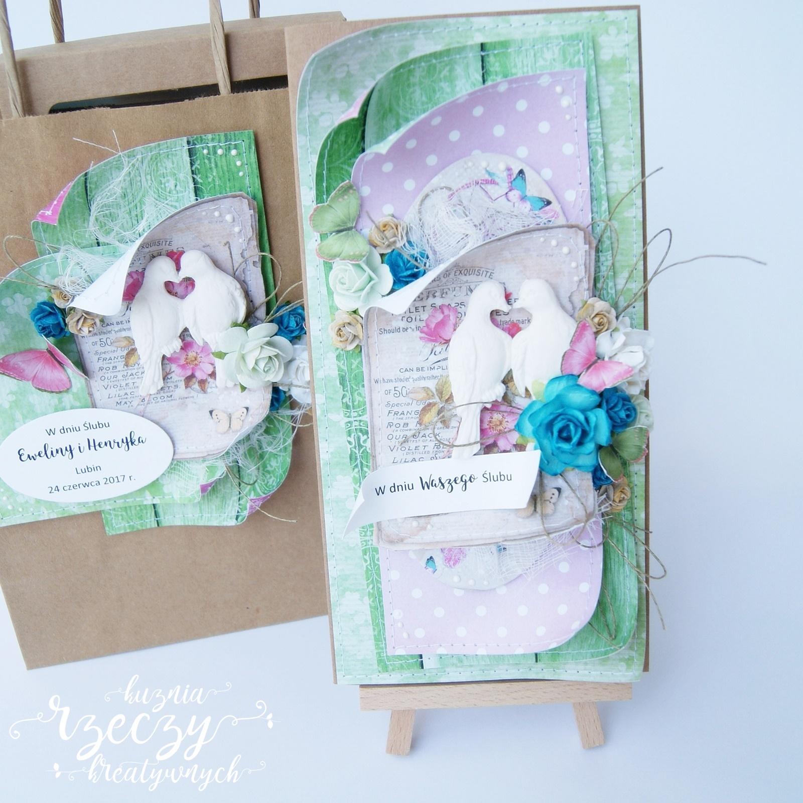 Komplet ślubny w soczystej kolorystyce: kartka, pudełko i ekotorebka.