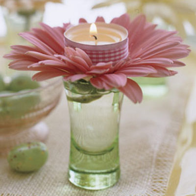 These adorable candles in the center of a flower are the perfect spring decoration.