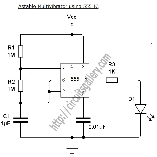 Astable Multivibrator using NE 555 timer IC -Circuit diagram and