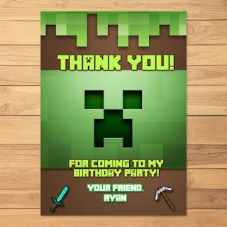Minecraft Thank You Card Creeper