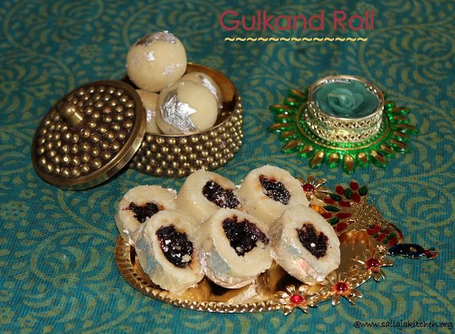 images of Almond Gulkand Rolls Recipe / Gulkand Roll Recipe / Badam Gulkandh Roll - Diwali Sweet Recipes