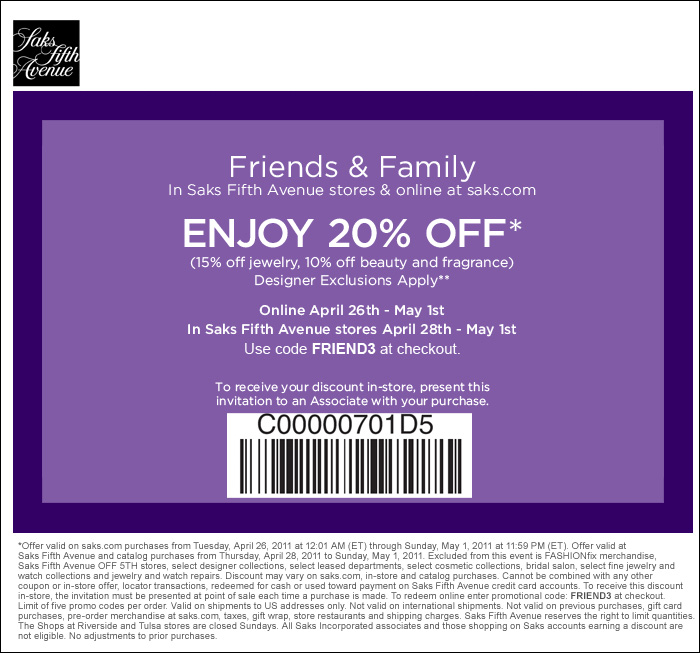 photograph regarding Avenue Coupons in Store Printable referred to as Yourself Obtained The Bundle: Saks 5th Road 20% OFF Coupon! In addition
