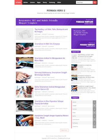 Perkasa-v2 Template Mobile Friendly, Responsive and Fastest Loading For Blogger
