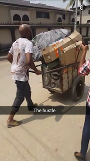 Nigerian Rnb singer Banky W transformed into truck pusher