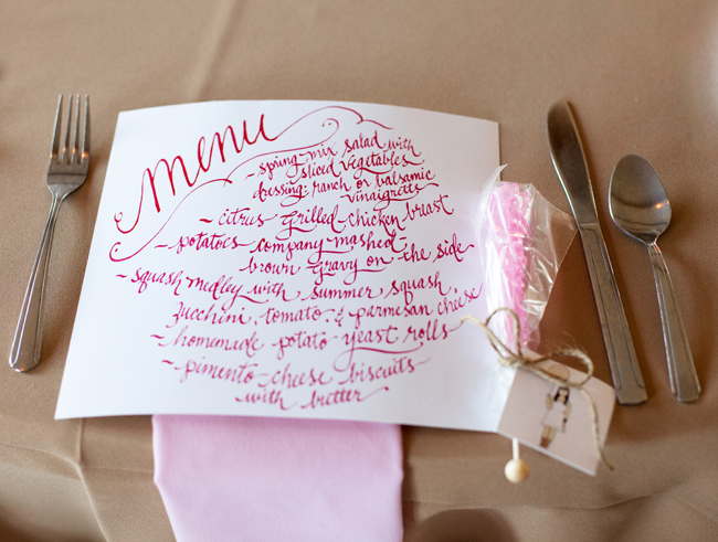 hand lettered menu for quince, place setting, hot pink ink on menu