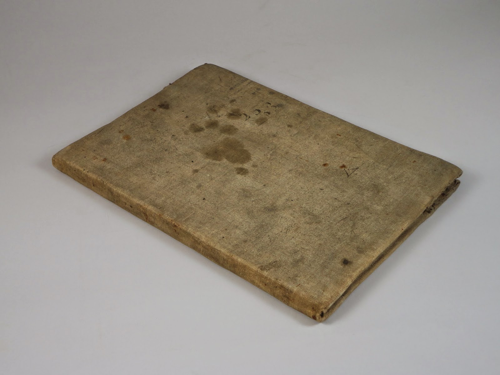 A slim, cloth-covered volume with heavy staining.