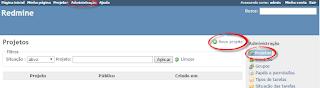 Exemplo de acesso a tela cadastro de projetos no Redmine