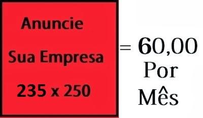 Banner 235 x 250 = R$60,00 por mês