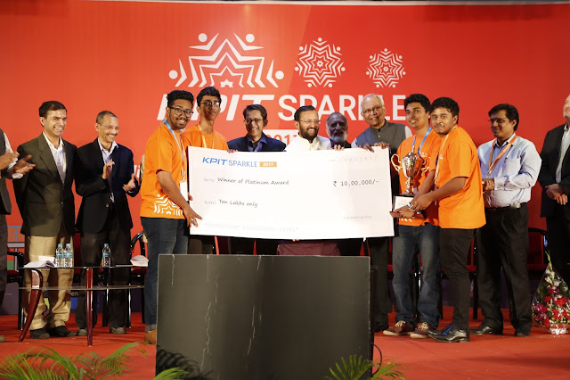 Photo Caption - Shri Prakash Javadekar, Union Minister for HRD, felicitating the Platinum Award winning team – Mangalore Institute of Technology and Engineering at KPIT Sparkle 2017