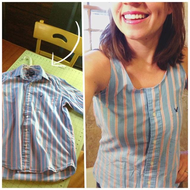 DIY: Men's Dress Shirt to Super Cute Summer Top