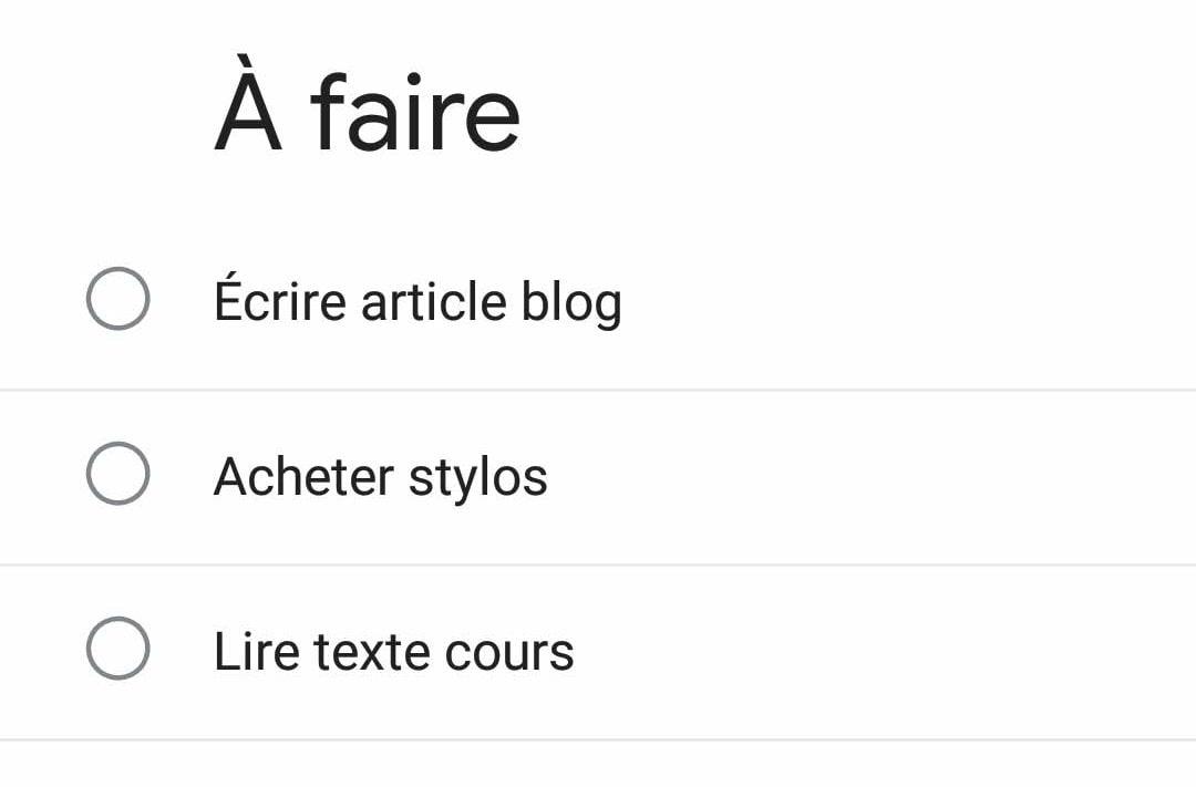 capture d'écran de Google Tasks sur téléphone