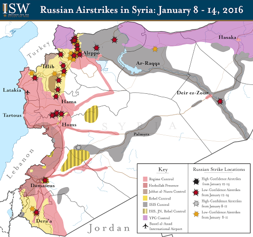 Russian Airstrikes in Syria: January 8 - 14, 2016