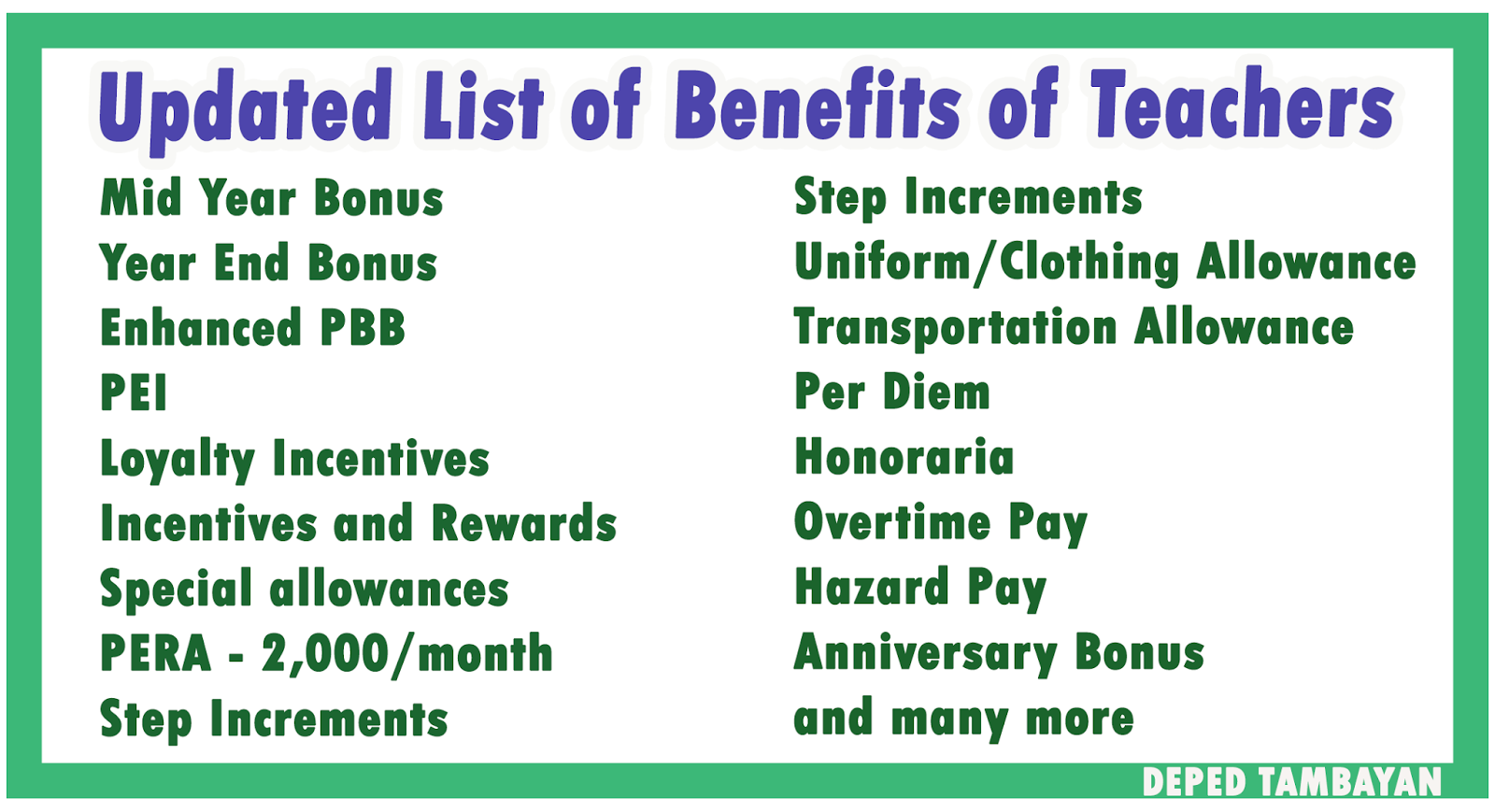 updated list of the benefits of teachers and other government updated list of the benefits of teachers and other government employees