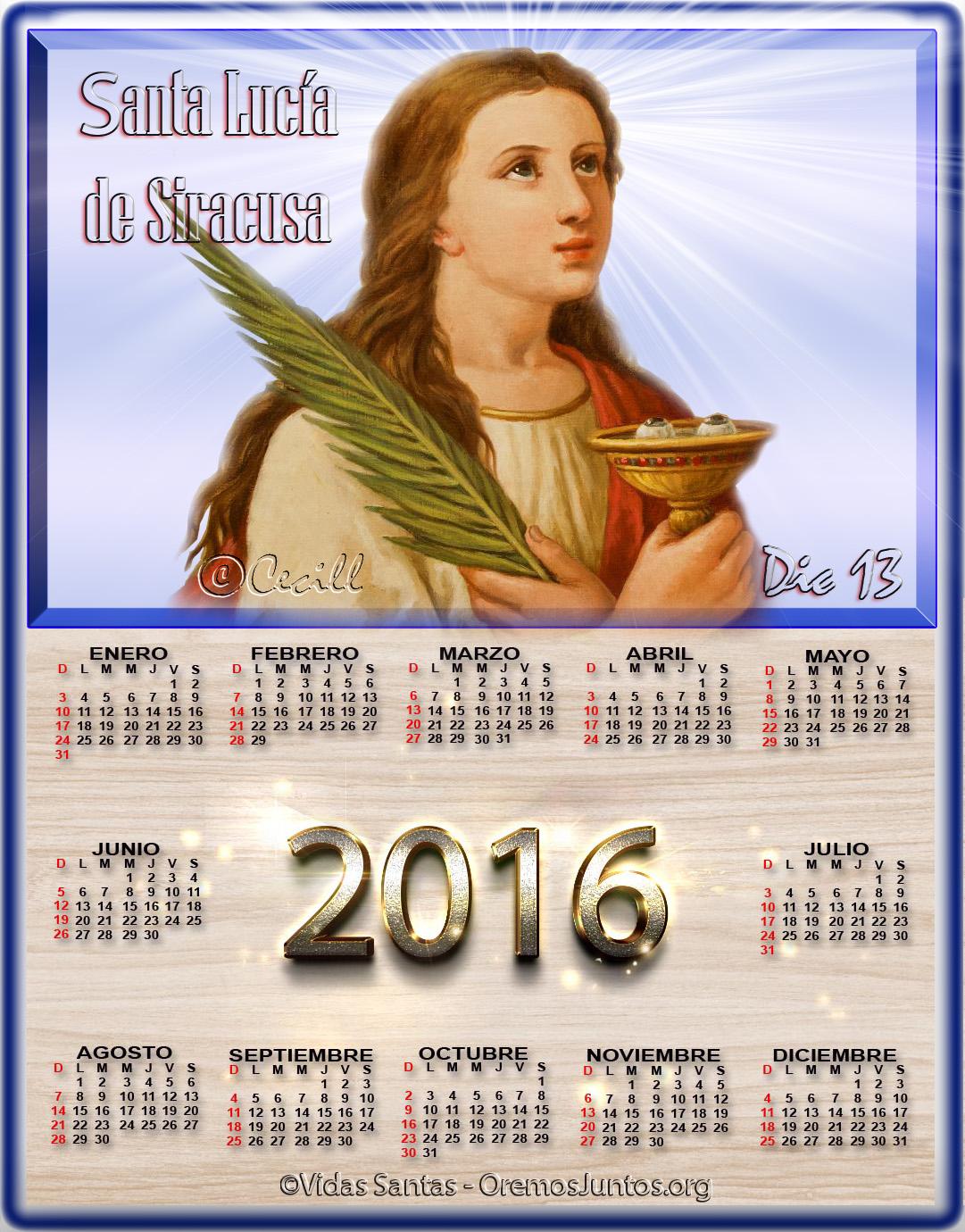 Santa Lucia Calendario.Mis Blogs Catolicos Calendario De Santa Lucia De Siracusa