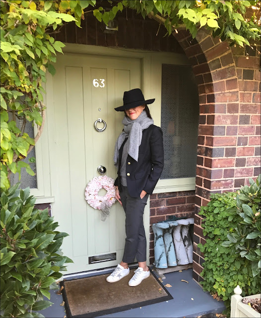 My Midlife Fashion, Zara cashmere scarf, the white company ultimate oxford flannel trousers, J crew rhodes wool blazer, golden goose superstar trainers, H&M cashmere mix crew neck jumper, zara felt fedora hat