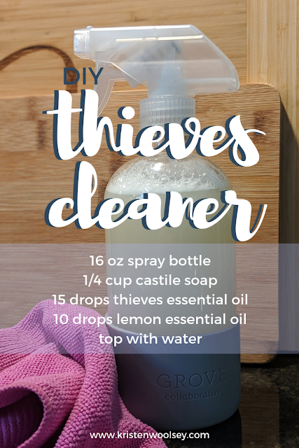 DIY Thieves Cleaner Recipe from kristenwoolsey.com
