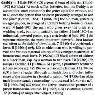 dictionary entry of list of slang meanings of 'daddy' from the Cassless Dictionary of Slang