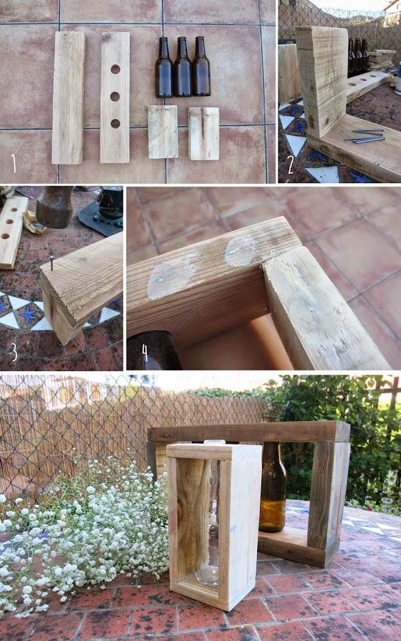 Diy candelabros o floreros con botellas y madera de palet2