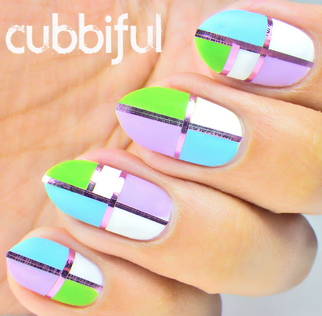 Color Block Spring Nails